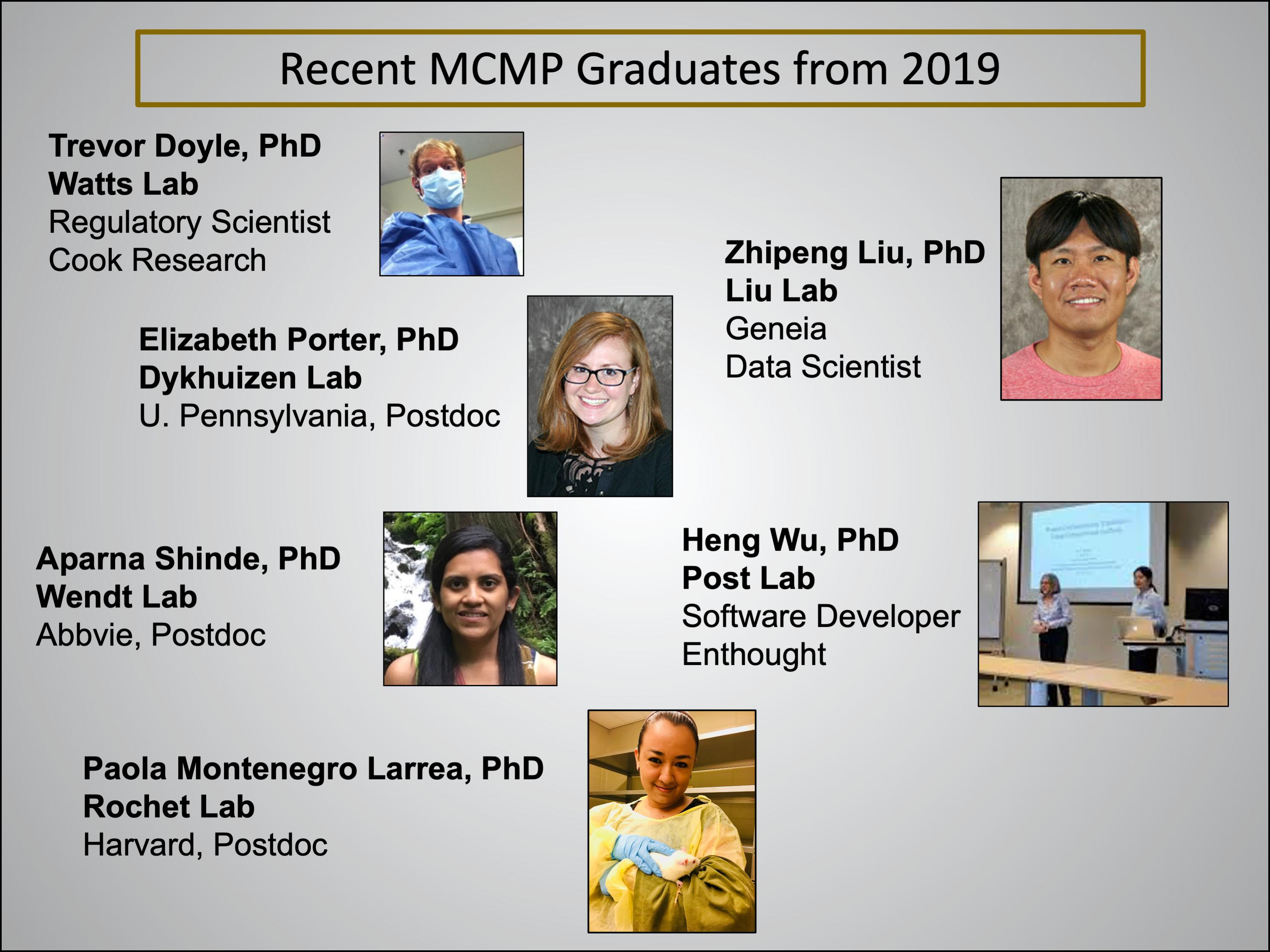 Recent graduates from the MCMP program